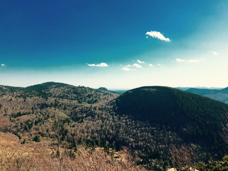 Sam Knob Summit Trail - view of Little Sam, Chestnut Bald and Devil's Courthouse