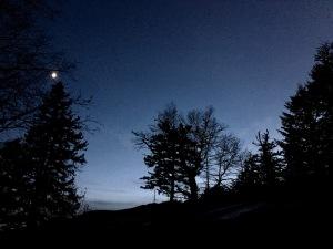 Tricorner Knob Shelter at twilight