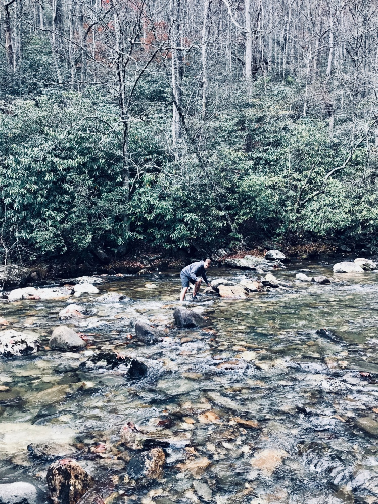 Fork Mountain Trail - Doug crossing river