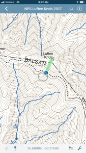 route to Luftee Knob