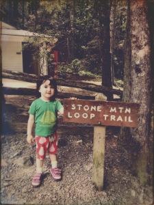 Stone Mountain State Park - Alice at trailhead